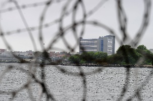 A view of buildings at the Rikers Island